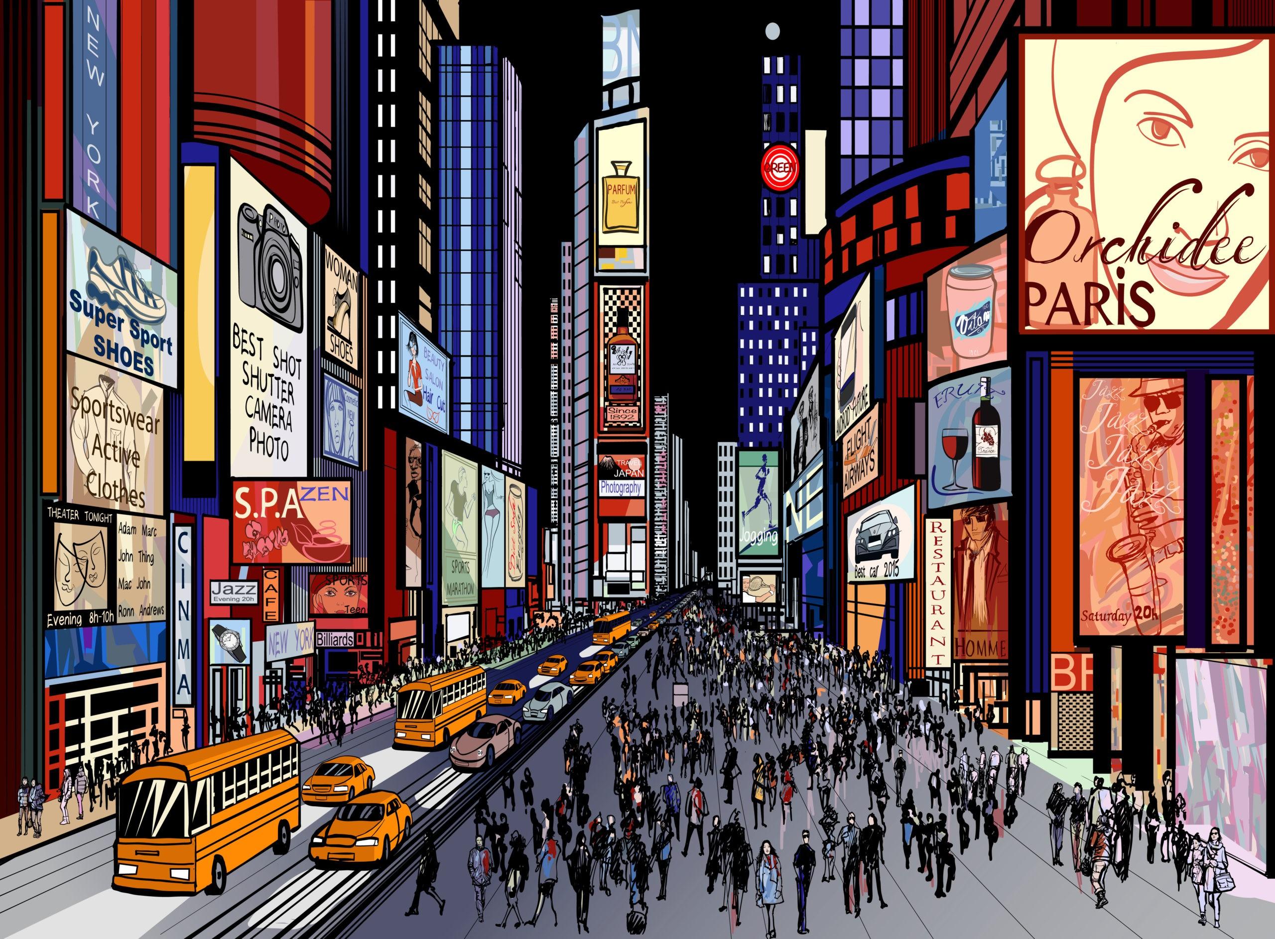 Wektorowa ilustracja nocnego Times Square w Nowym Jorku, licencja: shutterstock/By isaxar