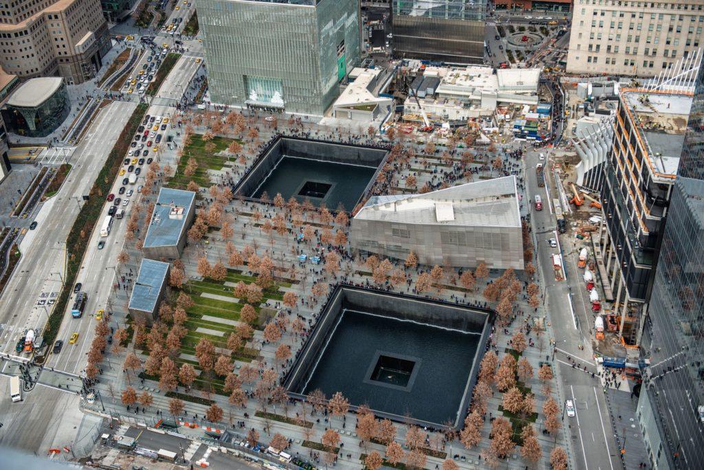 9/11 Memorial Park, widok z lotu ptaka w Manhattanie Nowy Jork