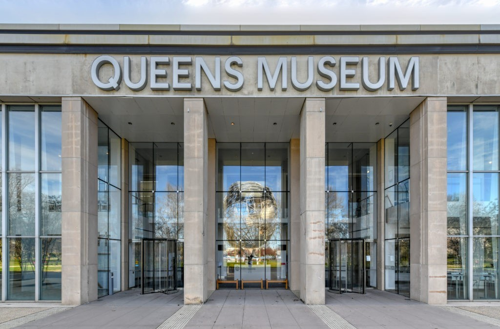 Flushing, New York - April 21, 2018: Front entrance of the Queens Art Museum in Fushing Meadows Corona Park, Queens, New York.
