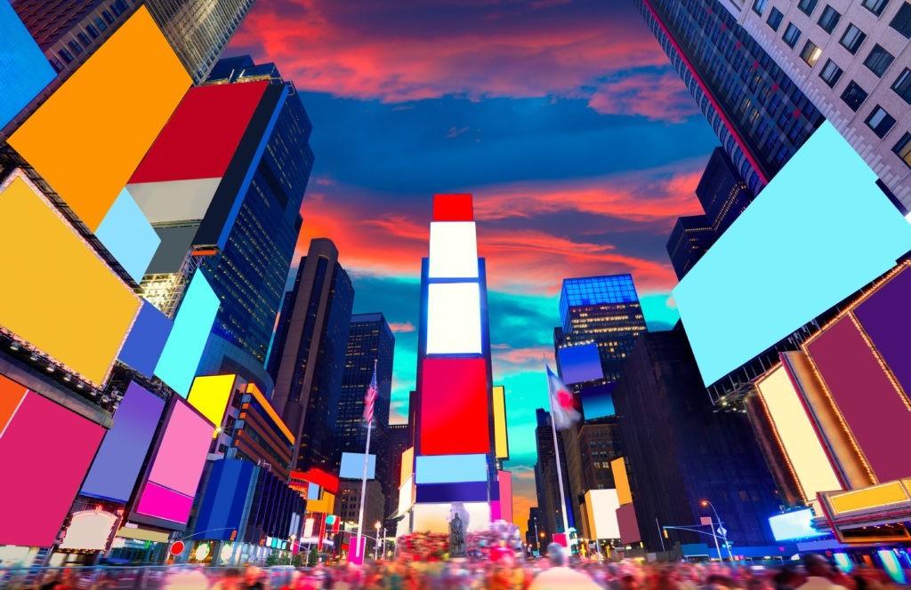 Times Square Manhattan Nowy Jork wszystkie ogłoszenia skasowane USA