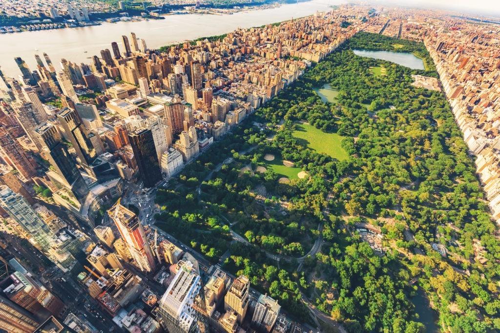 Widok z lotu ptaka Manhattan Nowy Jork patrząc na północ w górę Central Park