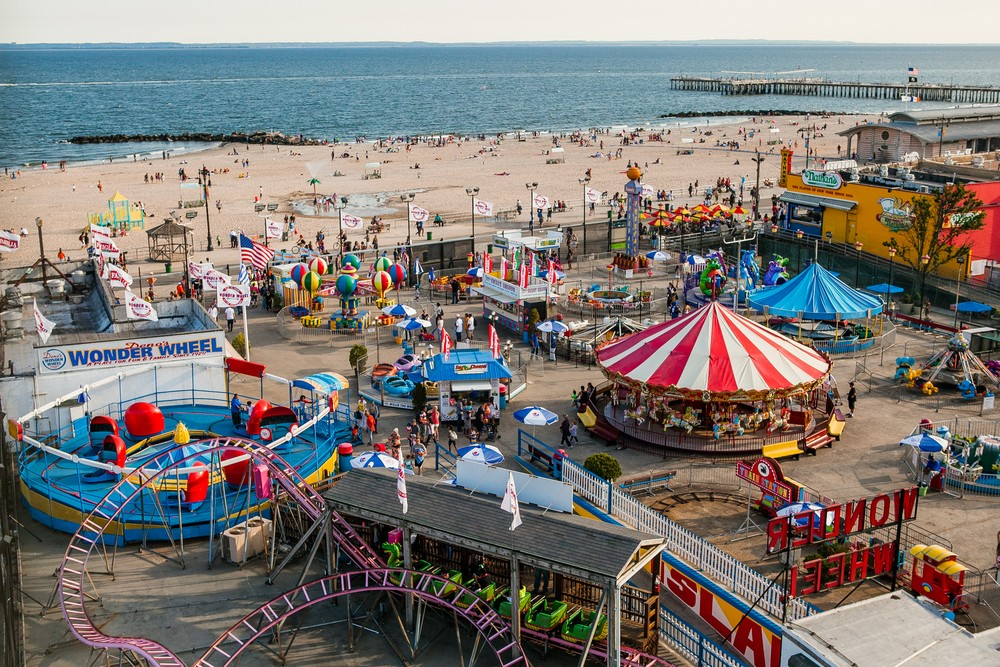 Coney Island Beach, New York - Summer 2015: a view of Coney Island Beach and amusement park from above