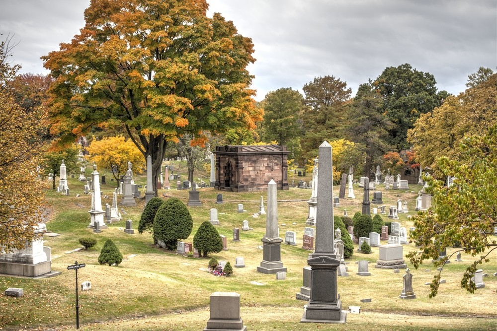 Green-Wood Cemetery, Park Slope, Brooklyn, New York, Oct. 24,2015- cemetery during the fall. Oct. 24, 2015 in Brooklyn, NY. USA