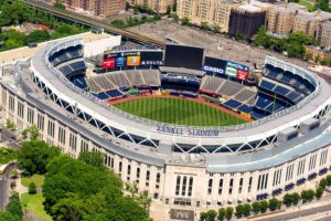 NEW YORK CITY - MAY 22, 2013: Yankee Stadium, aerial view. Home of the Yankees it is situated in the Bronx and can host 50000 for Baseball Games