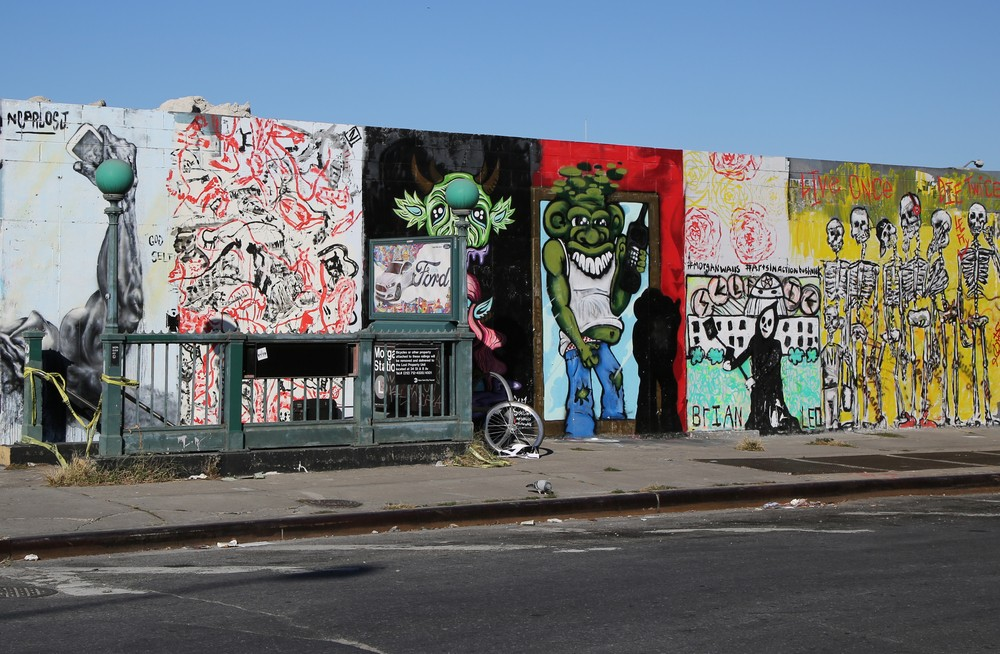 NEW YORK - NOVEMBER 8, 2015: Mural art at East Williamsburg in Brooklyn. Outdoor art gallery known as the Bushwick Collective has most diverse collection of street art in Brooklyn