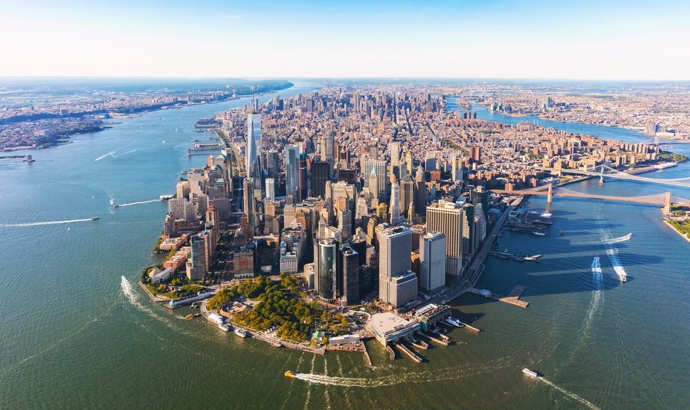 Widok z lotu ptaka na dolnym Manhattanie Nowy Jork