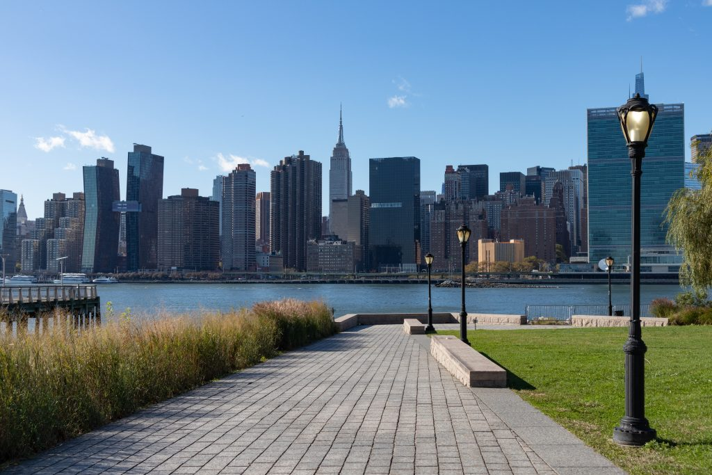 Empty Path along the Long Island City Queens New York Riverfront with a Midtown Manhattan Skyline View