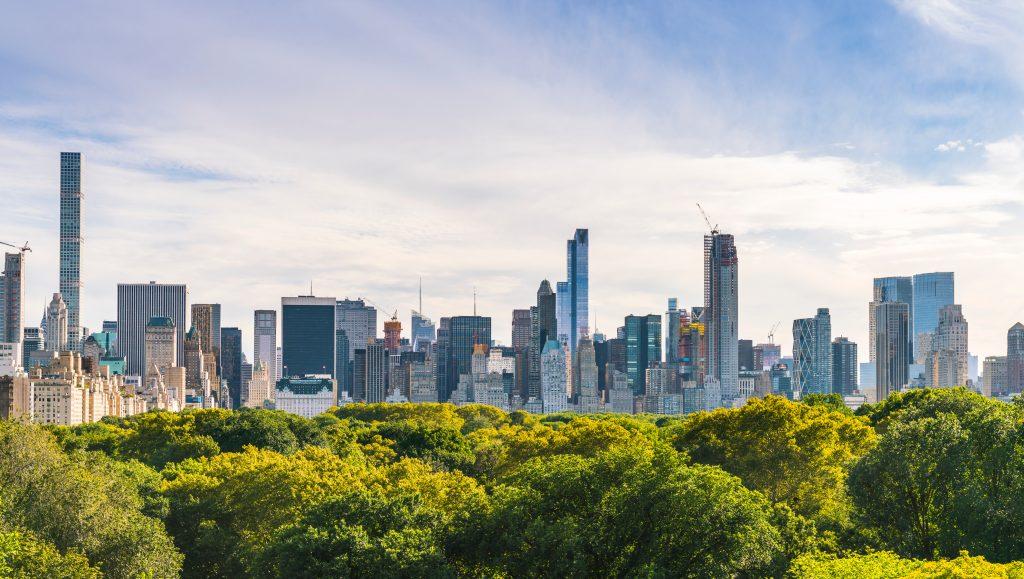 NEW YORK, USA - New York City skyline with central park.