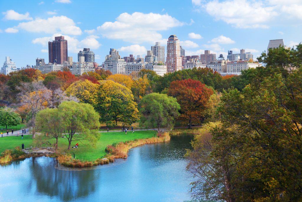 Nowy Jork Manhattan Central Park panorama w jesiennym jeziorze z drapaczami chmur i kolorowych drzew z odbiciem.
