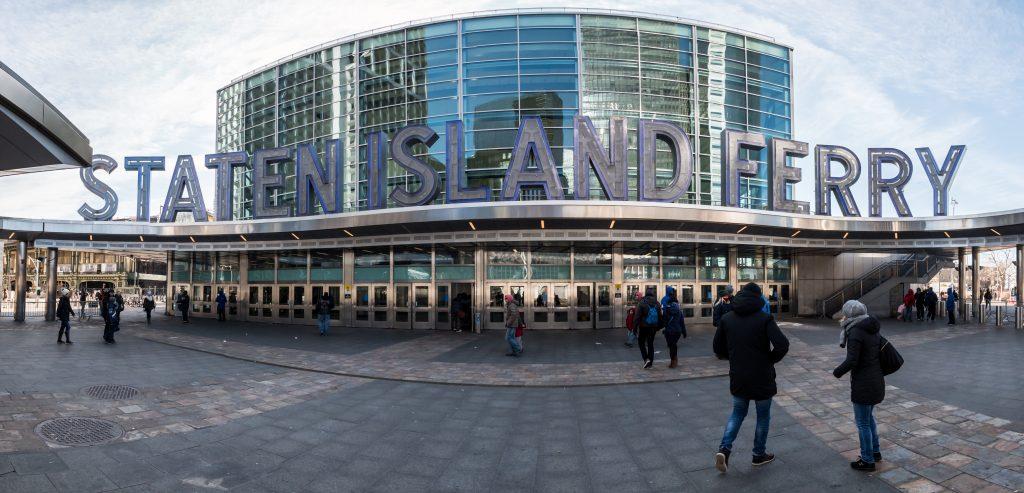 NY - MANHATTAN - 01 JAN 2015: Staten Island Ferry terminal placed in Manhattan downtown